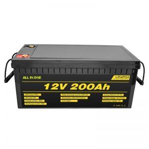 Bateri elektrike e personalizueshme 12V Lifepo4 bateri 12.8v 200ah me bateri të jetëgjatësisë 2000 cikël